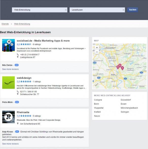 Übersichtseite von Facebook Services