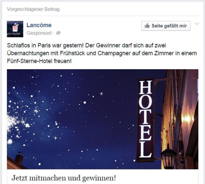Beispiel einer Werbung, die direkt nach den Terroranschlägen in Paris in der Timeline zu sehen war (Quelle: Fanpage Admins)