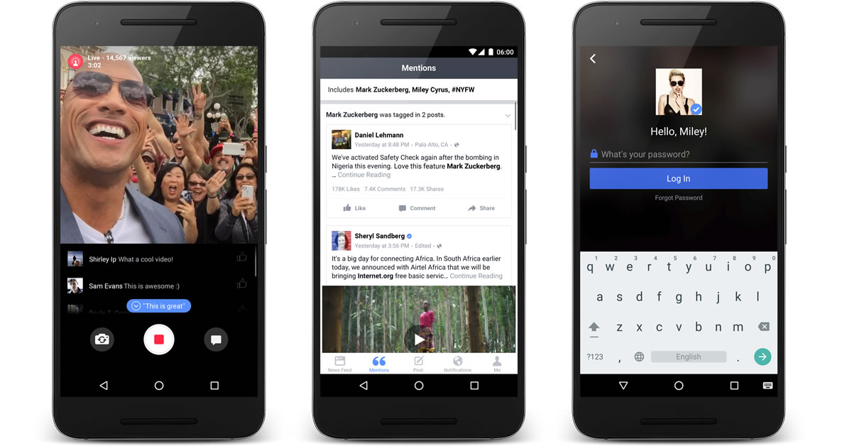 Facebook Mentions für Android