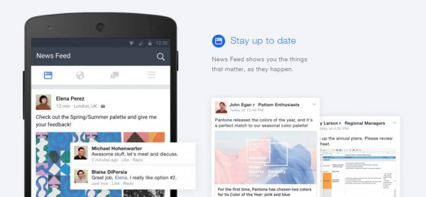News Feed in Facebook at Work (Quelle: Facebook)