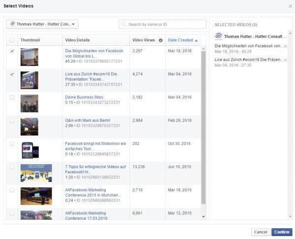 Auswahlmöglichkeit von mehreren Videos