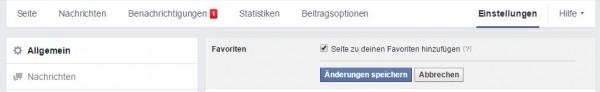 Facebook Seite in den Favoriten speichern