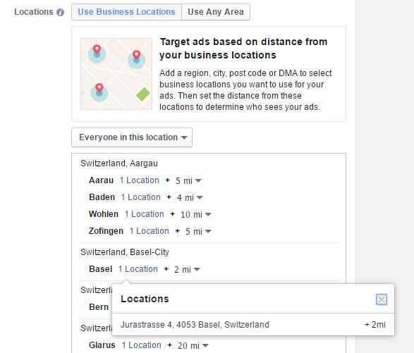 Standortauswahl bei Multi Locations inkl. Standortumkreis