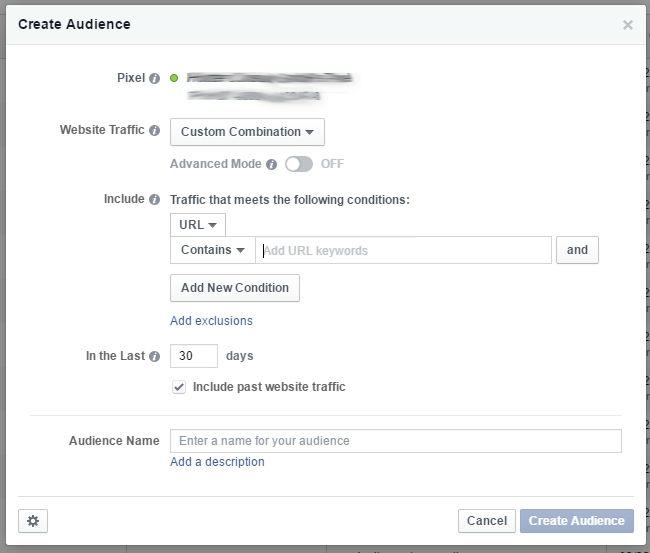 Custom Audiences from Website - Custom Combination Standard Maske