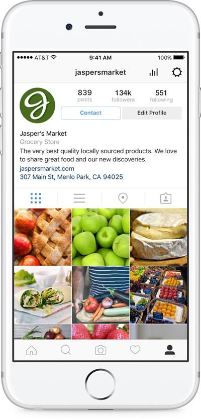 Business Profile / Unternehmenskonto (Quelle: Instagram)