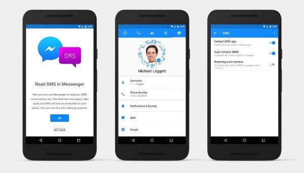 SMS Integration im Messenger (Quelle: Facebook)