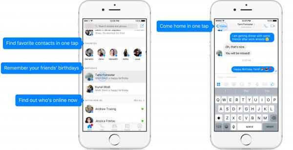 die neue Inbox im Messenger (Quelle: Facebook)
