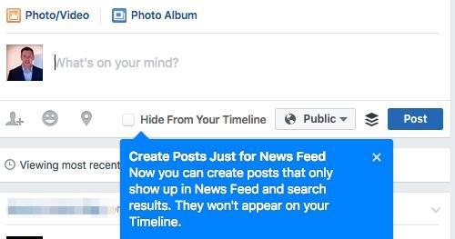 """Hinweis """"Create Posts Just for News Feed"""" (Quelle: Kai Thrun)"""
