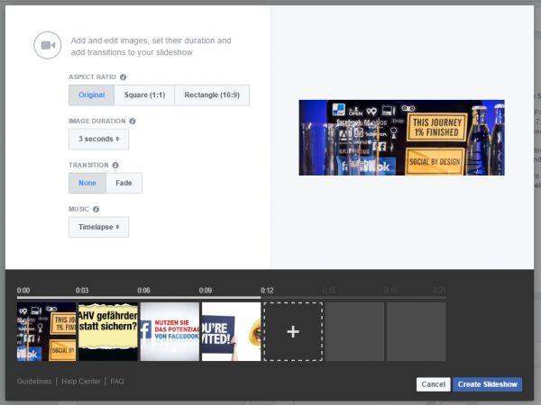 Slideshow-Erstellung im Werbeanzeigenmanager