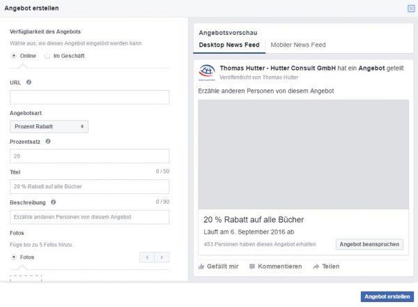Neue Erstellungsmaske für Facebook Angebote
