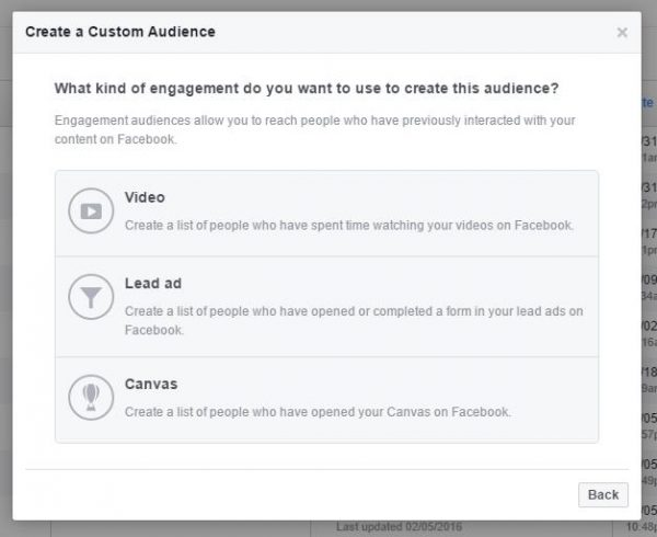 Custom Audiences from Engagement - Canvas
