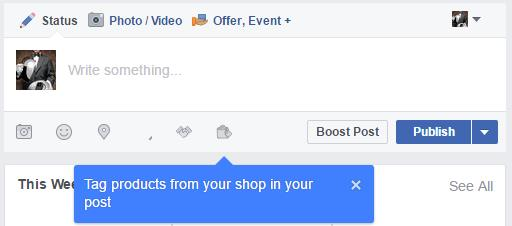 Tag products from your shop in your post.