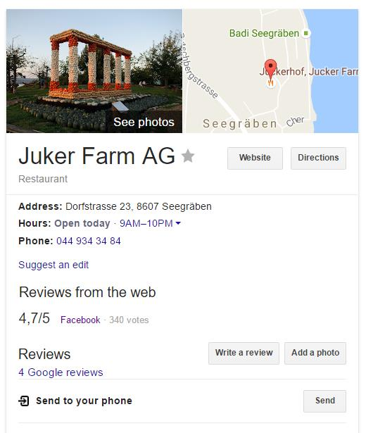 Google zeigt Facebook Reviews