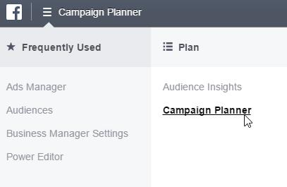Campaign Planner im Business Manager Menü