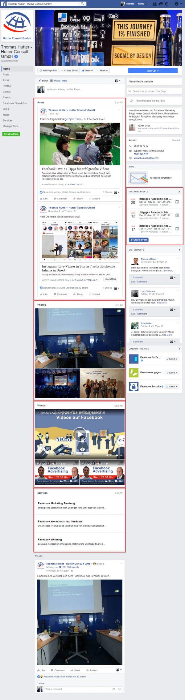 Das neue Facebook Seitenlayout mit Themen-Boxen