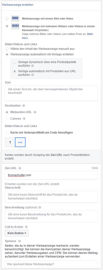 Dynamisch erstellte Karussell Ads anhand einer URL