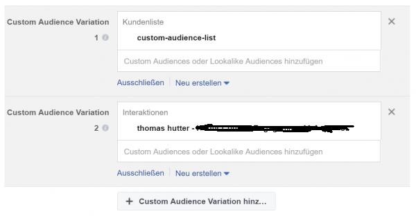 Variationen bei Zielgruppen - Custom Audiences