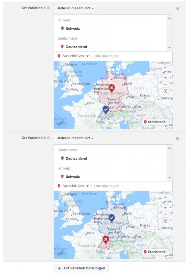 Erstellungsprozess mit Variationen für Orte