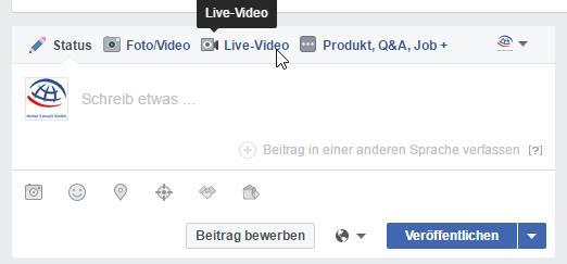 Facebook Live direkt im Publisher