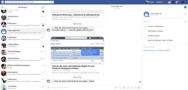 Messenger Layout auf dem Desktop