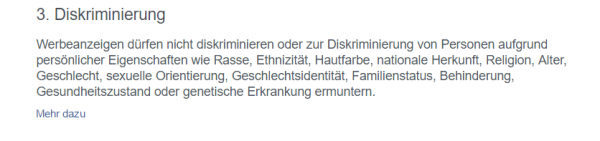"""Neue Regelung in den Werbeanzeigenrichtlinien zu """"Diskriminierung"""""""