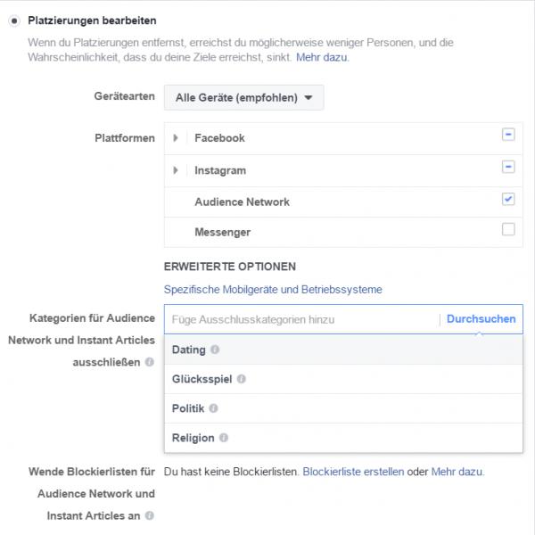 Kategorien-Ausschluss und Blockierlisten im Werbeanzeigen Manager (Quelle: Facebook)