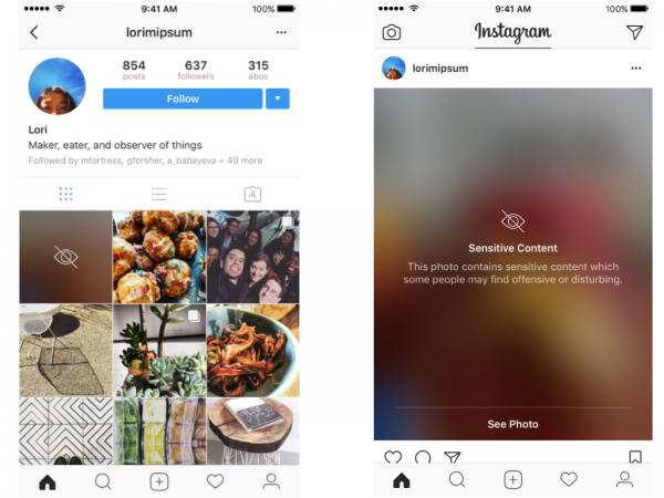 Instagram - Maskierung sensitiver Inhalte (Quelle: Instagram)