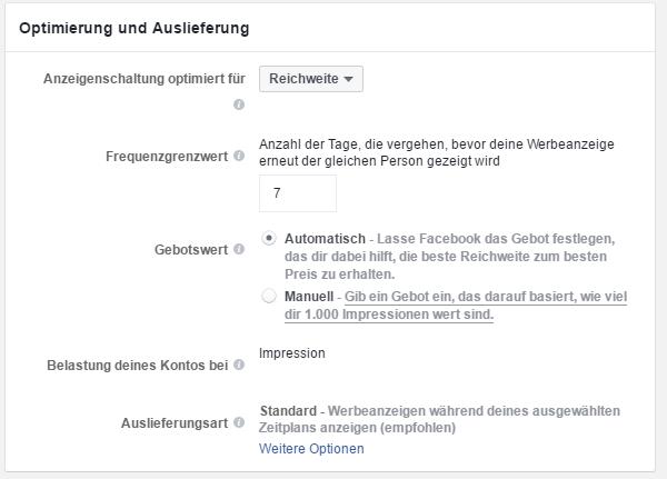 """Einstellungsmöglichkeiten bei Werbeanzeigengruppen mit der Zielsetzung """"Reichweite"""""""
