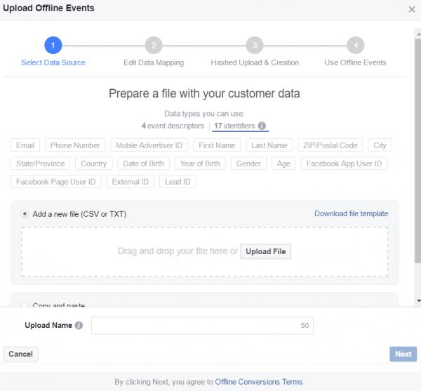 Schritt 4: Daten Upload Offline Event Set - Identifiers
