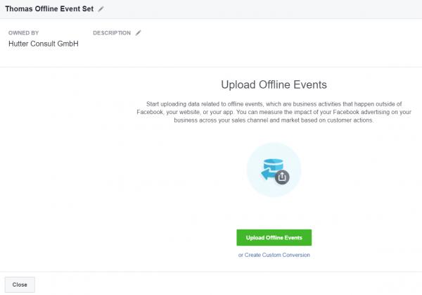 Schritt 3: Daten Upload Offline Event Set