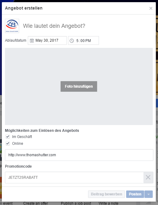 Neuer Erstellungsdialog für Facebook Angebote