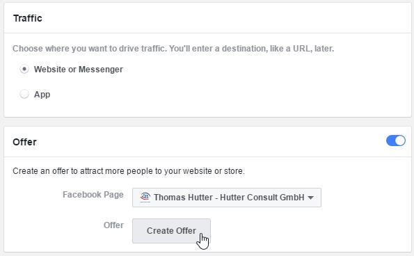 """Angebot erstellen in der Werbeanzeigengruppe beim Kampagnenziel """"Traffic"""""""