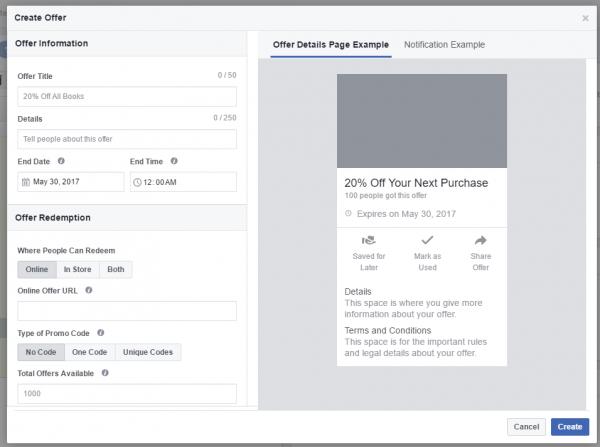 Erstellungsdialog für Facebook Angebote