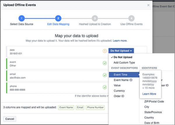 Schritt 5: Daten Upload Offline Event Set - Data Mapping