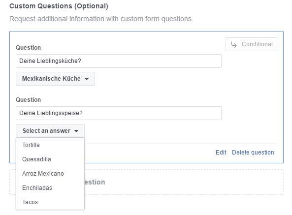 Erstellungsdialog mit antwortabhängigen Fragen in Lead Ads