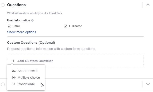 "Facebook Lead Ads Erstellung mit ""Conditional Questions"""