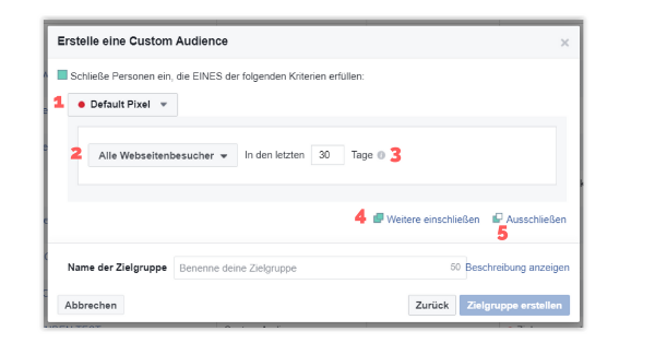 Erstellungsdialog für Website Custom Audience