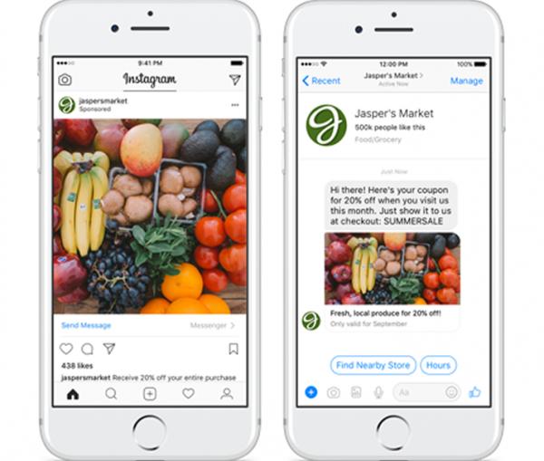 """""""Click to Messenger"""" Ads auf Instagram (Quelle: Facebook)"""