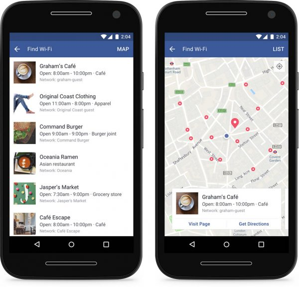 Facebook WIFI-Finder (Quelle: Facebook)
