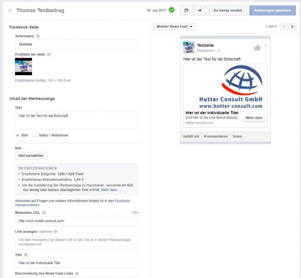 """Workaround über den Creative Hub - Erstellung der """"Werbeanzeige"""""""
