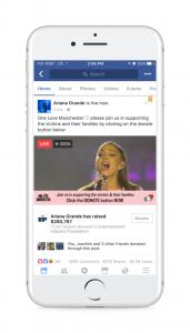 Live Video im Newsfeed mit Spenden Button (Quelle: Facebook)