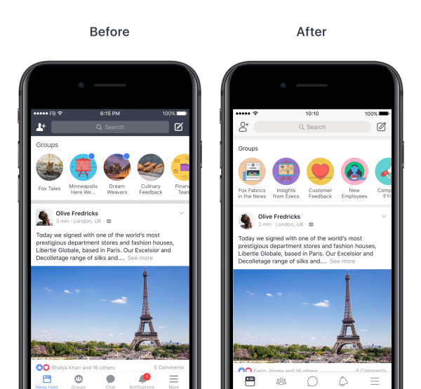 Design Refresh - iOS Feed Before and After (Quelle: Facebook)