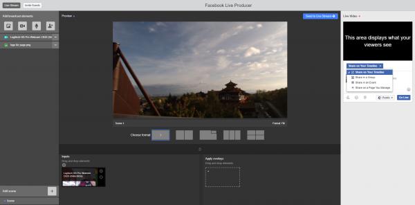 Facebook Live Producer - Oberfläche mit einer Cam (Quelle: Torsten Schiefen)
