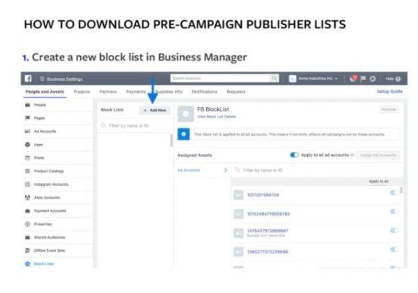 Erstellungsprozess für Block-Listen im Business Manager (Quelle: Facebook)