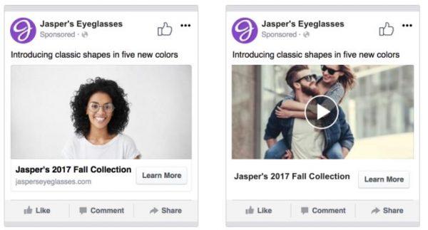 """Split-Test Beispiel """"Video vs. Bild"""" (Quelle: Facebook)"""