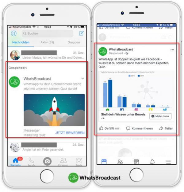 Platzierung der Facebook Ads im Newsfeed und direkt im Facebook Messenger (Quelle: WhatsBroadcast)