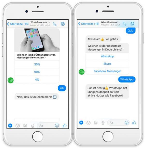 Einfacher Chatbot: Der WhatsBroadcast Quizbot qualifiziert mit Hilfe von 5 Fragen die Teilnehmer vor und sorgt durch Gamifikation für gutes Engagement. (Quelle: WhatsBroadcast)