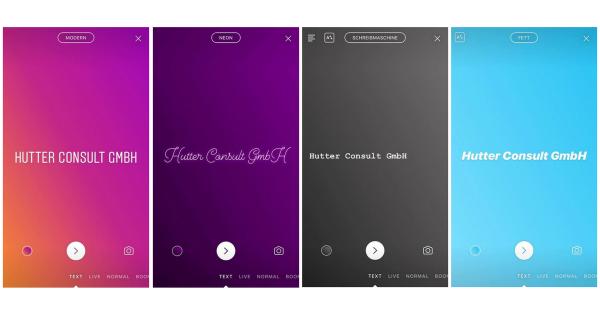 Instagram Type - Schriftarten/-effekte (Quelle: Hutter Consult GmbH)