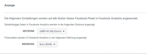 Währung festlegen (Quelle: Facebook Analytics)
