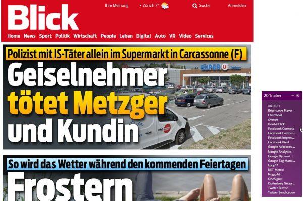 """Rechts im Bild die """"Tracker"""" bei blick.ch"""
